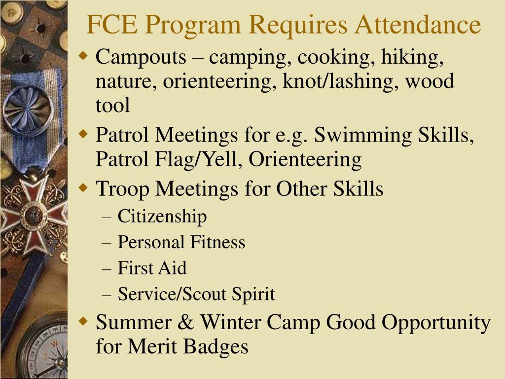 FCE Program Requires Attendance