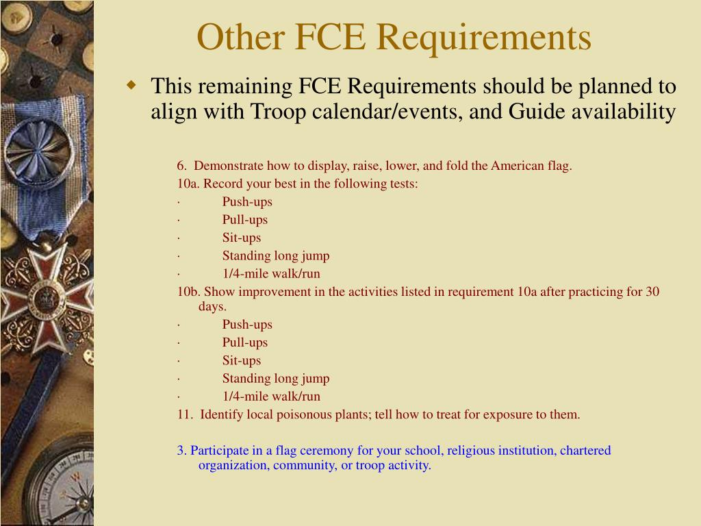 Other FCE Requirements