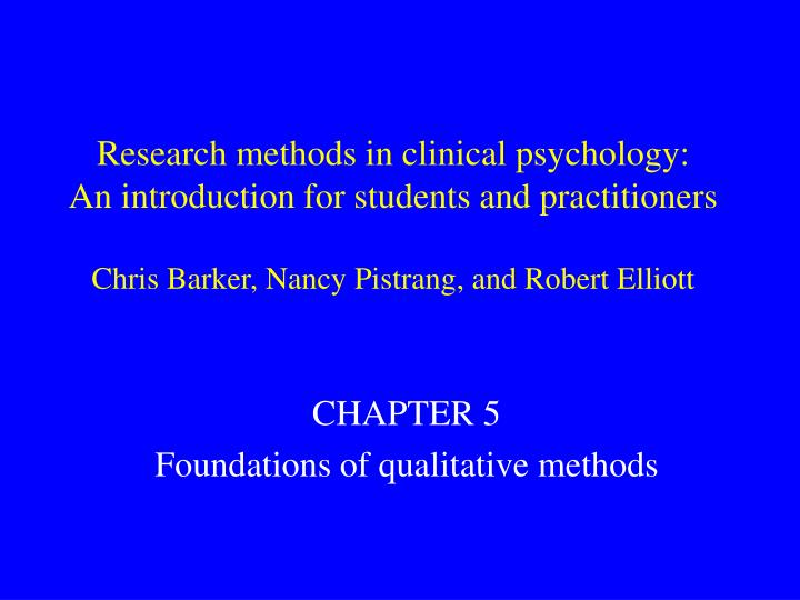 Research methods in clinical psychology: