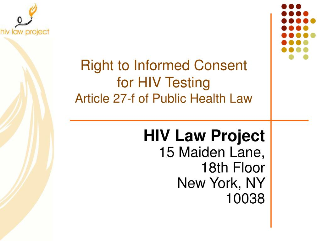 right to informed consent for hiv testing article 27 f of public health law l.