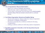 what departments have accomplished thus far