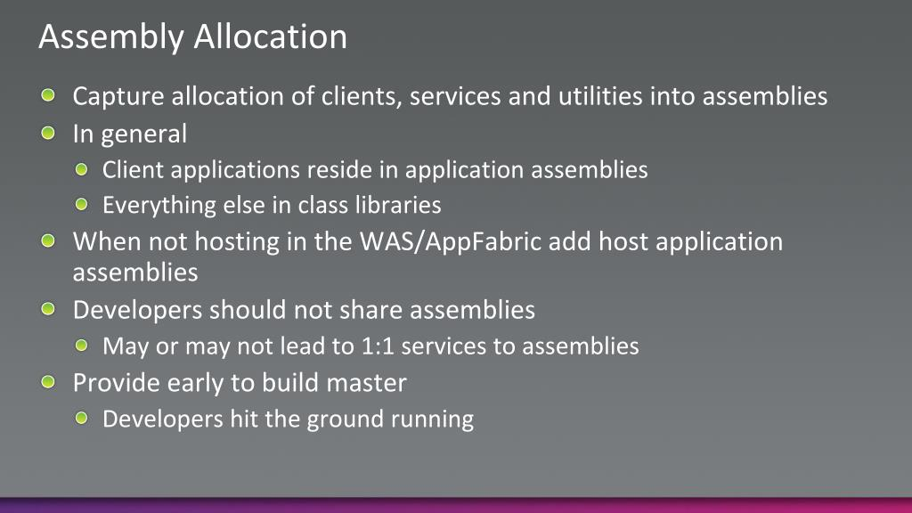 Assembly Allocation
