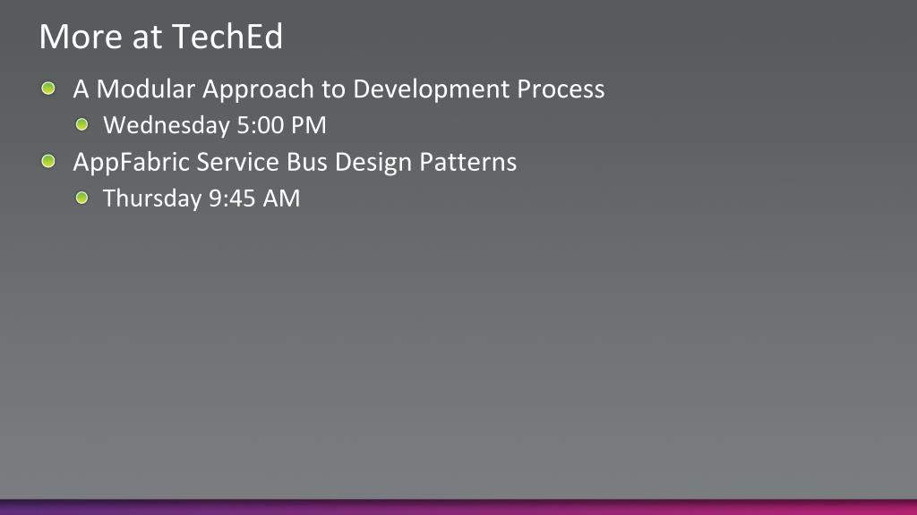 More at TechEd