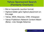 yahoo sponsored search formerly overture