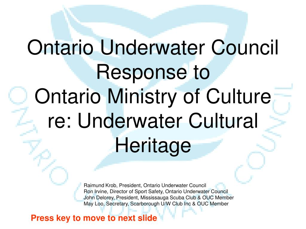 ontario underwater council response to ontario ministry of culture re underwater cultural heritage l.