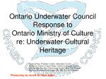 ontario underwater council response to ontario ministry of culture re underwater cultural heritage