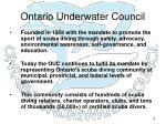 ontario underwater council
