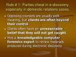 rule 1 parties cheat in e discovery especially in domestic relations cases29