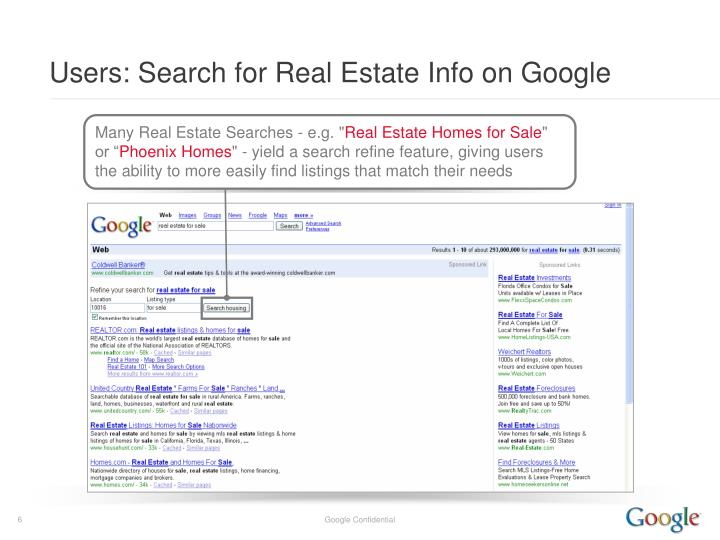 Users: Search for Real Estate Info on Google
