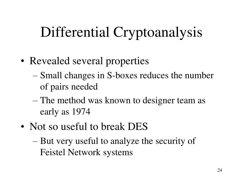 Differential Cryptoanalysis