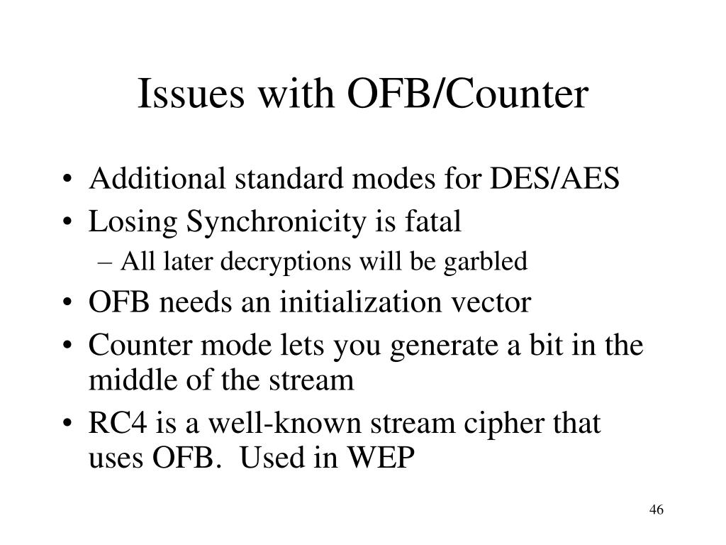 Issues with OFB/Counter