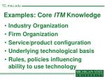 examples core itm knowledge