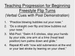 teaching progression for beginning freestyle flip turns verbal cues with pool demonstration