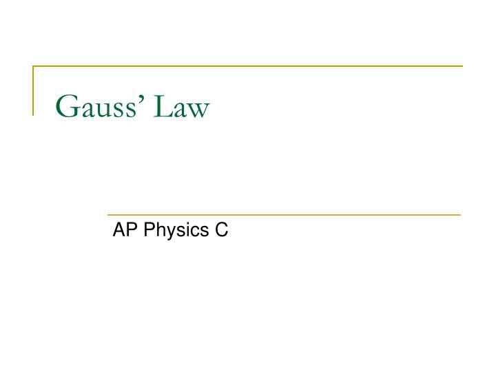 gauss law n.