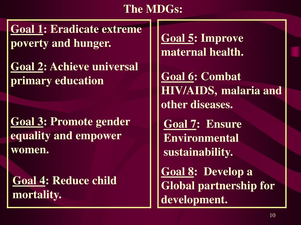 The MDGs: