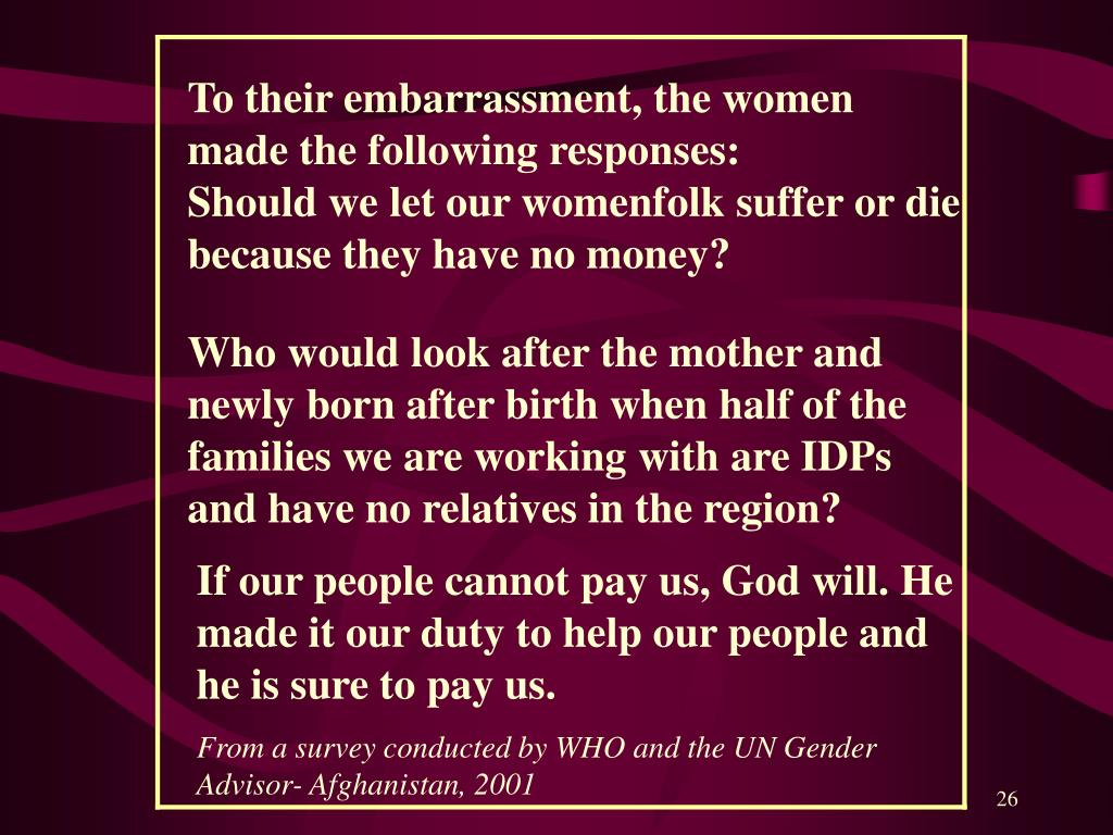 To their embarrassment, the women made the following responses: