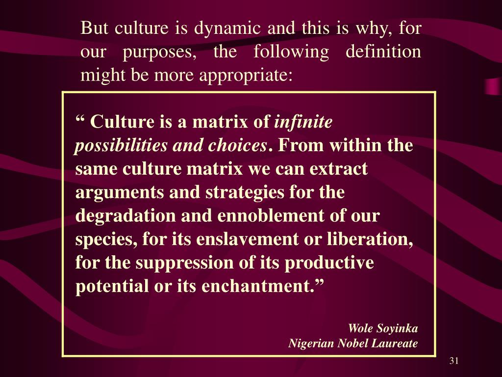 But culture is dynamic and this is why, for our purposes, the following definition might be more appropriate: