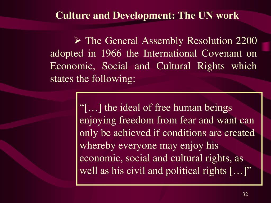 Culture and Development: The UN work