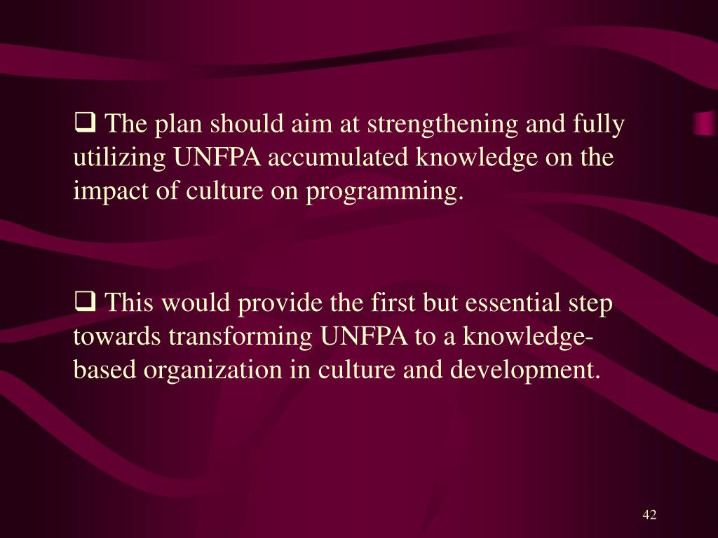 The plan should aim at strengthening and fully utilizing UNFPA accumulated knowledge on the impact of culture on programming.