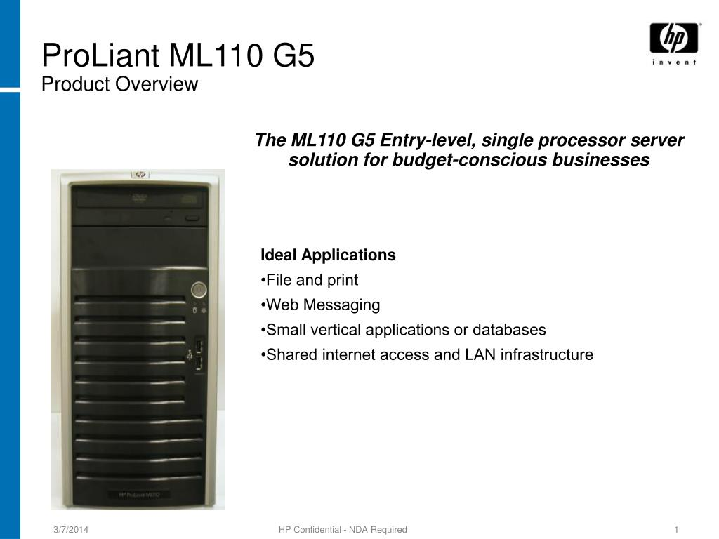 proliant ml110 g5 product overview l.