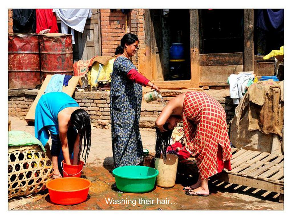 Washing their hair…