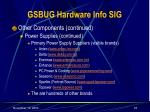 gsbug hardware info sig18