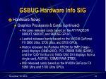 gsbug hardware info sig33