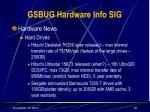 gsbug hardware info sig35