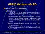 gsbug hardware info sig37