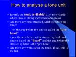 how to analyse a tone unit
