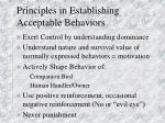 principles in establishing acceptable behaviors