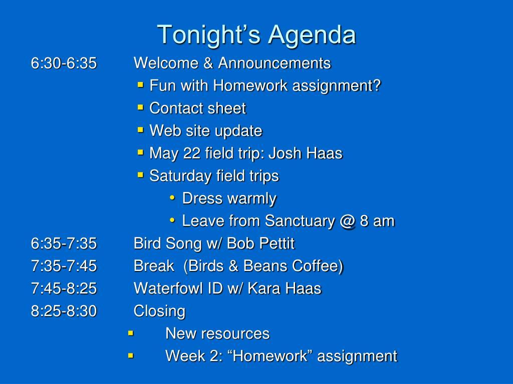 tonight s agenda l.