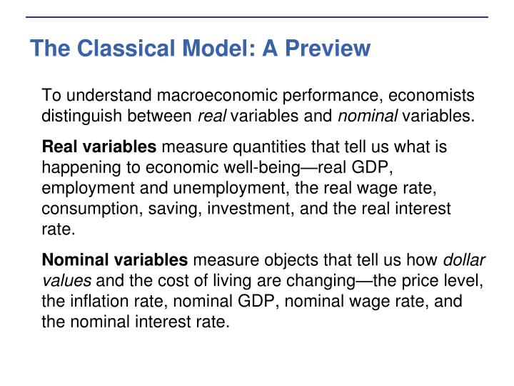 The classical model a preview