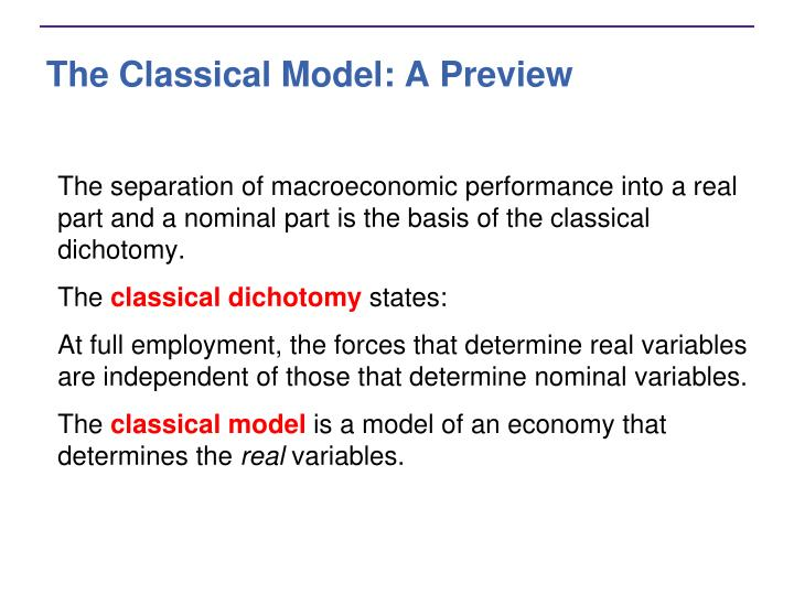 The classical model a preview3