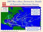 2005 was a busy destructive deadly expensive hurricane season