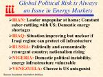 global political risk is always an issue in energy markets