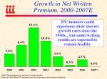 growth in net written premium 2000 2007e