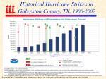 historical hurricane strikes in galveston county tx 1900 2007
