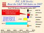 p c l h stocks beat the s p 500 index in 2007