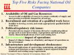 top five risks facing national oil companies