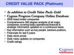 credit value pack platinum