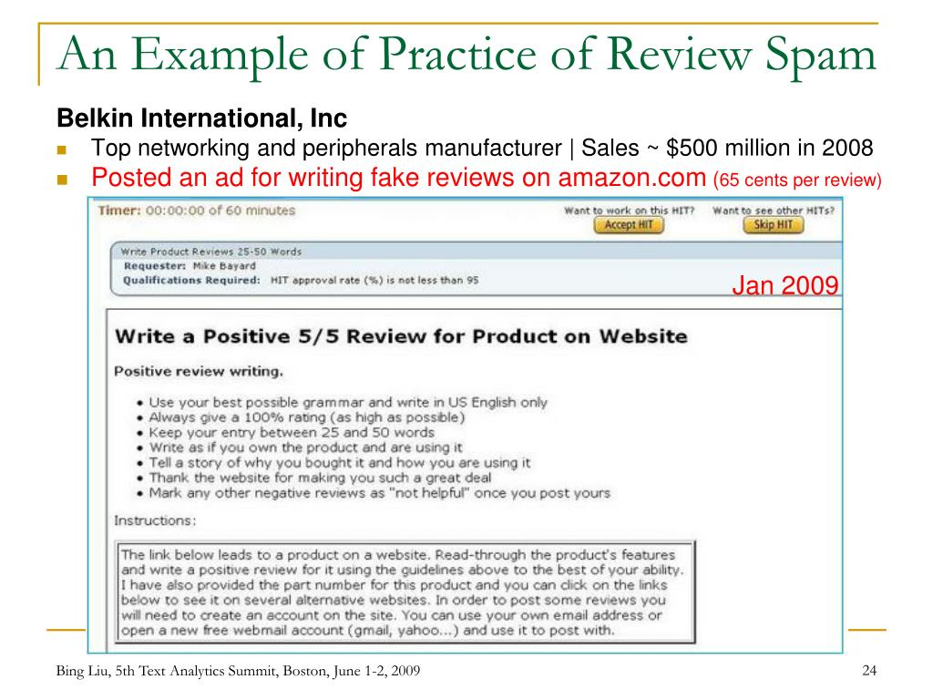 An Example of Practice of Review Spam