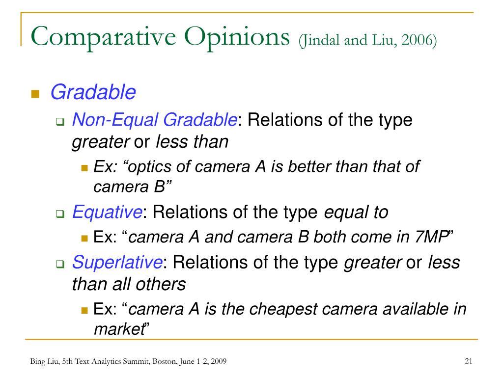 Comparative Opinions