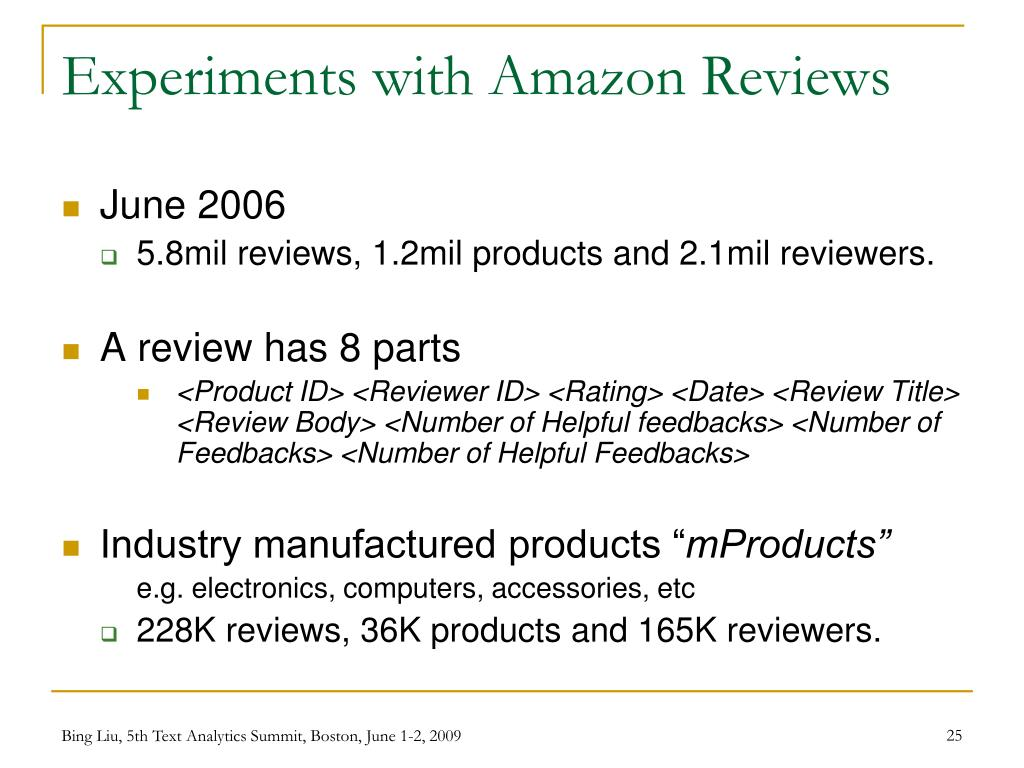 Experiments with Amazon Reviews