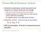 feature based sentiment analysis