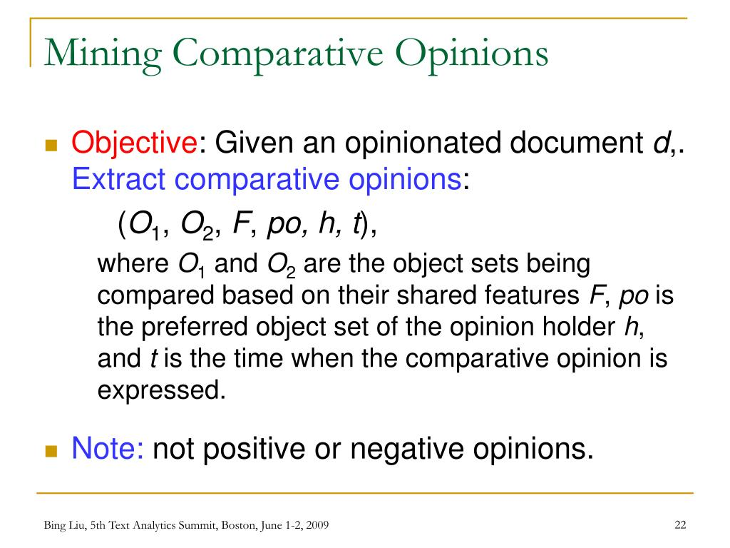Mining Comparative Opinions