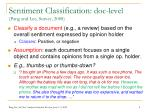 sentiment classification doc level pang and lee survey 2008