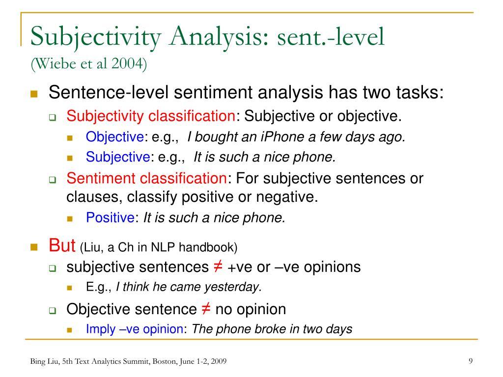 Subjectivity Analysis: