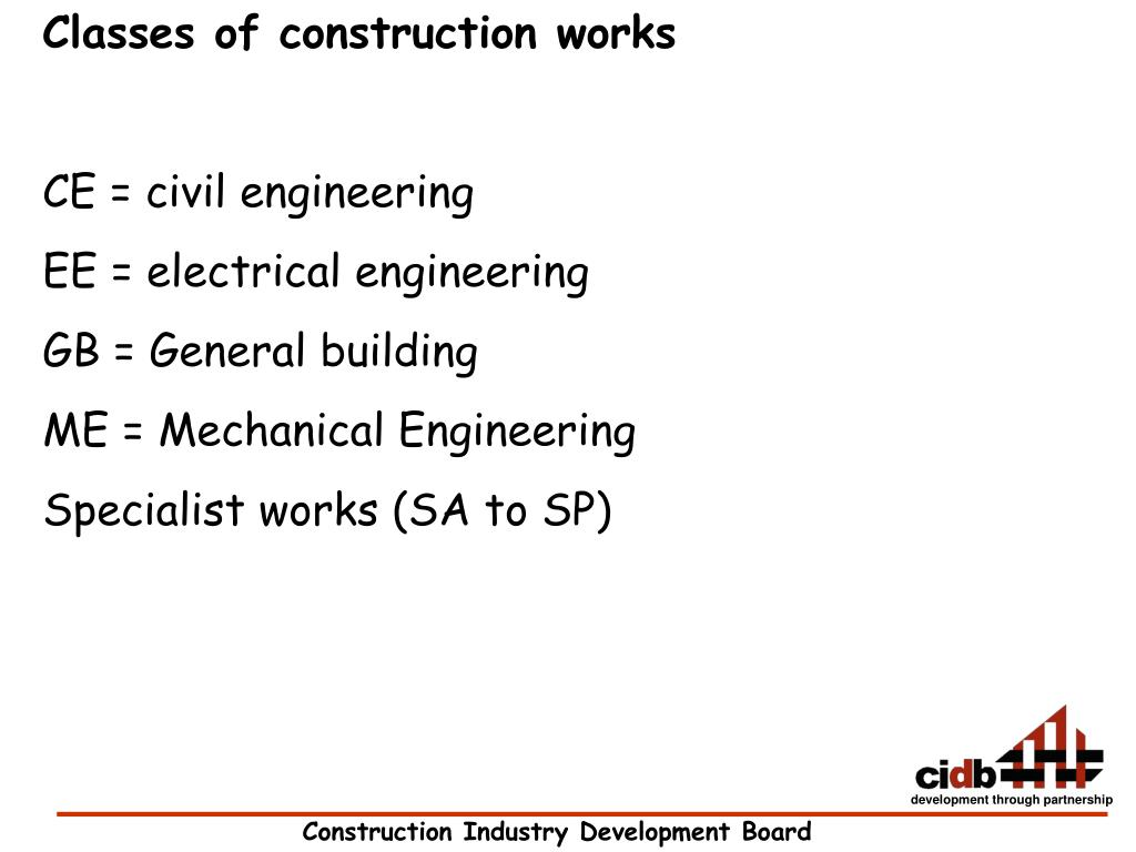 Classes of construction works