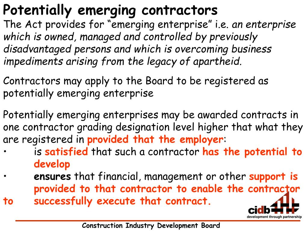 Potentially emerging contractors